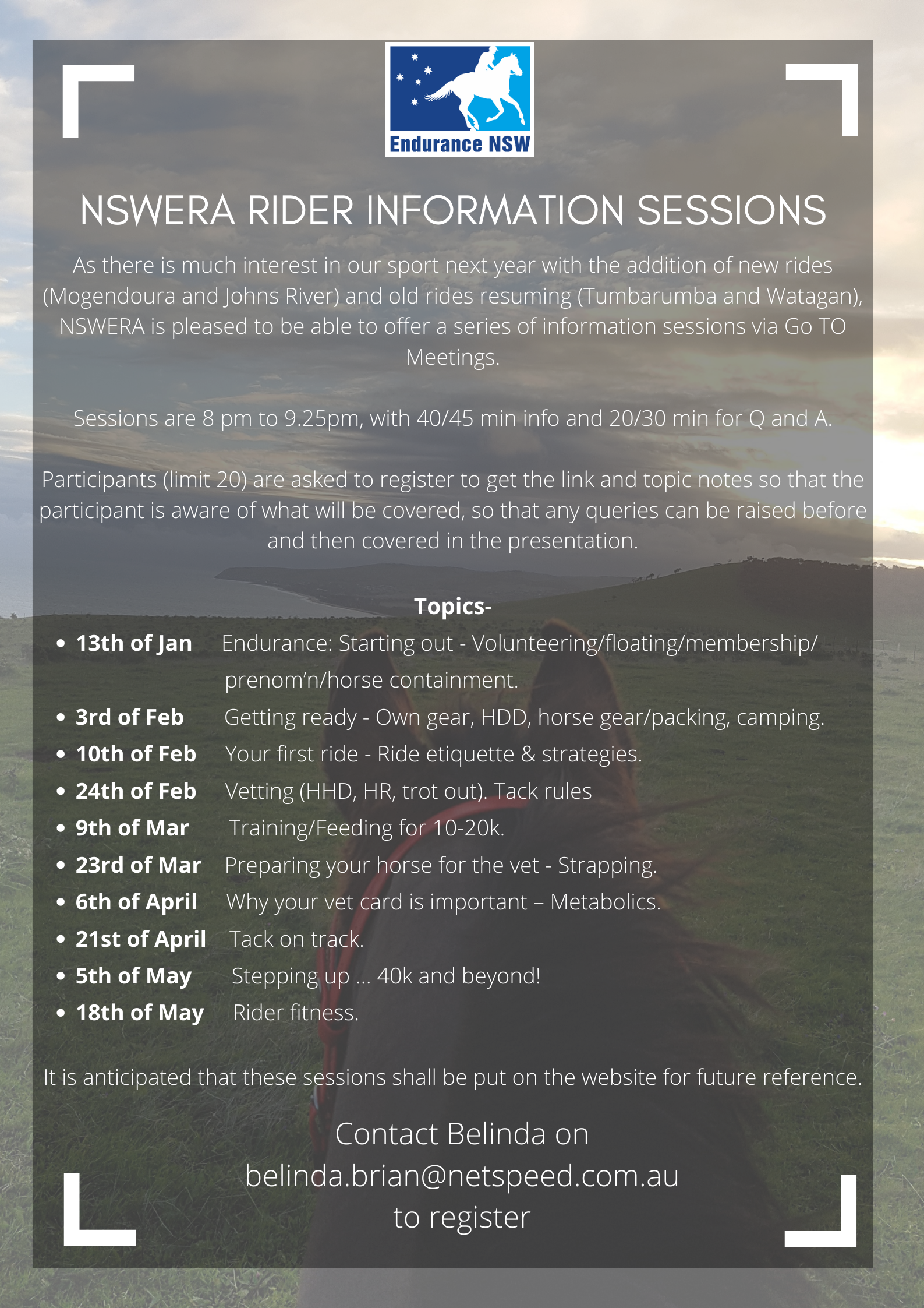 NSWERA Rider Information Sessions